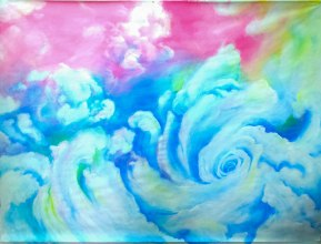 Cloud color, cyclone au paradis céleste, MTDessin, 2mx1,5m , acrylique sur papier.