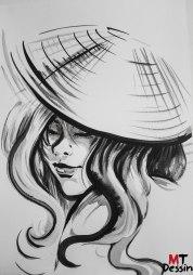 Femme au chapeau, encre de chine