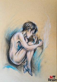 foetus, MTDessin, A4, crayon pastel,