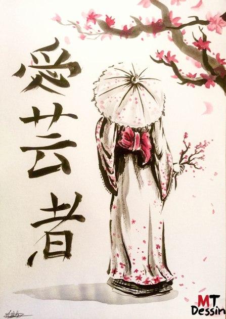 gaicha de dos, belle japonaise, encre de chine