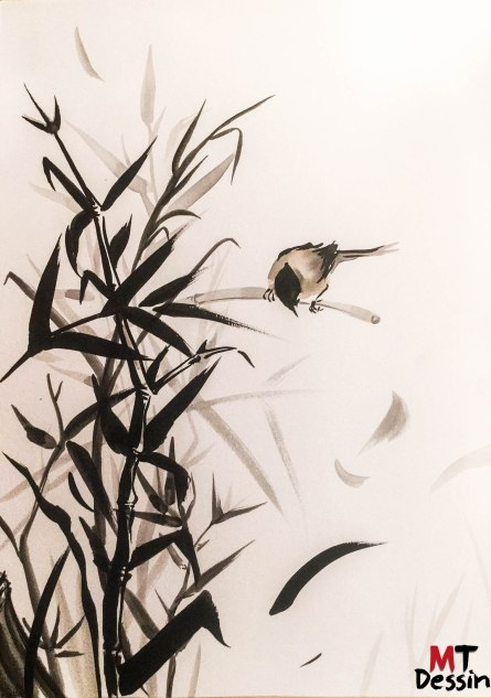 Vivre tel un oiseau sur la branche, encre de chine, A2