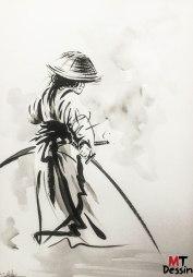 Surprendre un samuraï, encre de chine, A2