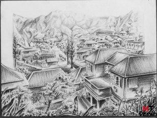 Village de salazie, crayon, A4.