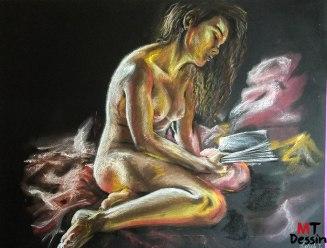 lady reading, MTDessin, pastel sec, A2