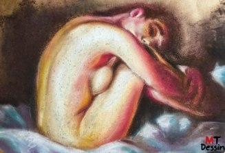 lady dreaming, pastel sec, A2.