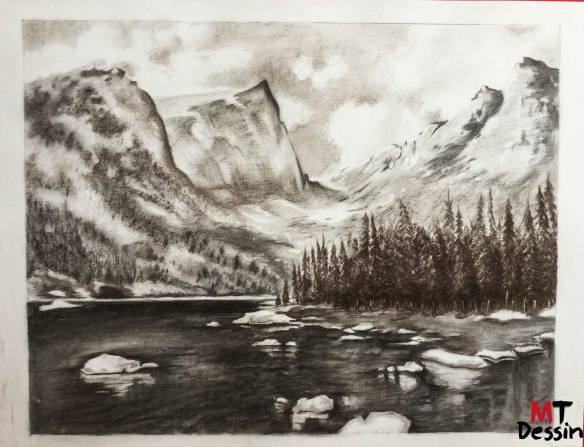 lac et montagne, fusain.