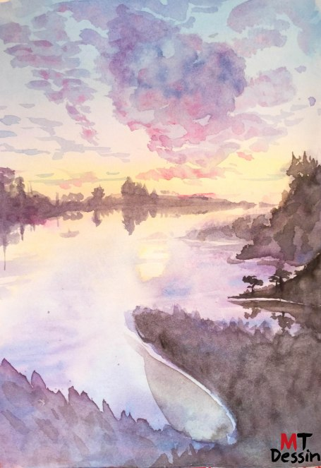 belle vue, aquarelle, A5