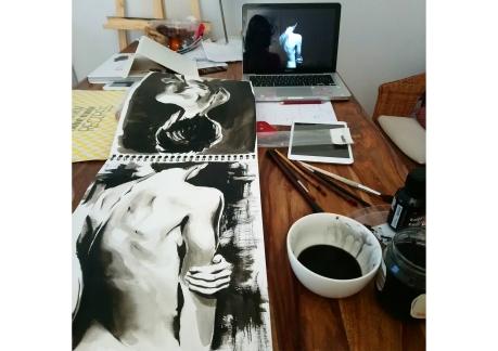 cours de dessin encre de chine corps