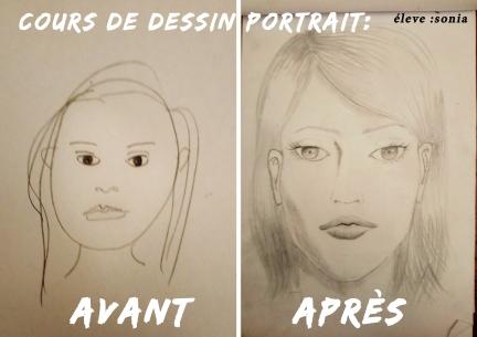 cours de dessin avant aprés portrait visage mtdessin
