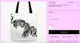 impression mtdessin tigre tote bag