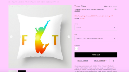 fit feeling on pillow print by mtdessin