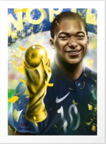 kylian mbappé produit personnalisé, art print, by mtdessin, poster