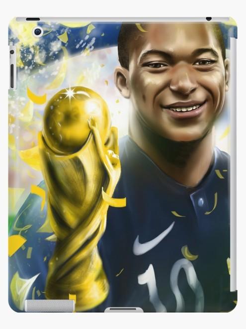 kylian mbappé produit personnalisé, art print, by mtdessin, iPad skin