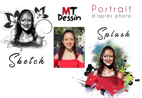 portrait personnalisé dessiné sketch or splash