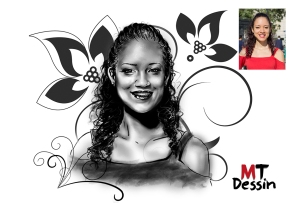 portrait personnalisé dessiné sketch esquisse noir et blanc