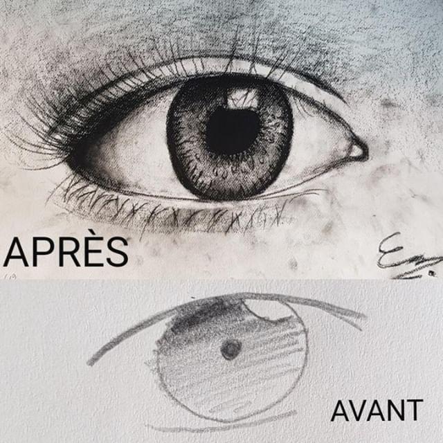 Dessin d'oeil de Clément collemare, avant et après.